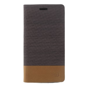 Canvas Stand Leather Card Holder Mobile Case for Motorola Moto G5 Plus - Coffee