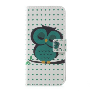 Patterned Leather Magnetic Wallet Shell for Motorola Moto G5 - Green Owl on Branch