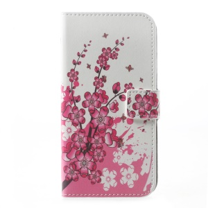 Patterned Leather Wallet Flip Folio Case for Motorola Moto G5 - Plum Blossom