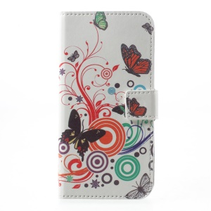 Patterned Leather Magnetic Wallet Shell for Motorola Moto G5 - Butterflies and Circles