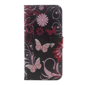 PU Leather Wallet Stand Patterned Cover for Motorola Moto G5 - Floral Butterfly