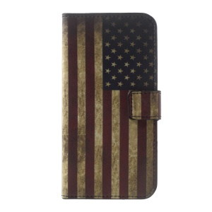 For Motorola Moto G5 Patterned Wallet Leather Stand Cell Phone Case - Vintage US Flag