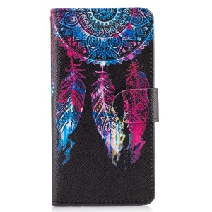 Pattern Printing Leather Wallet Case for Motorola Moto Z Play - Dream Catcher