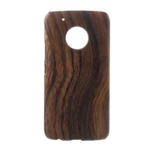 For Motorola Moto G5 Plus Leather Coated PC Hard Back Phone Case Shell - Wood Texture / Brown