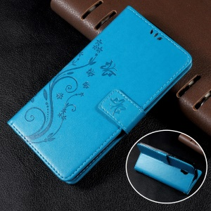 Wallet Leather Case with Imprinted Butterfly Flower for Lenovo Vibe P1 / P1 Turbo - Blue