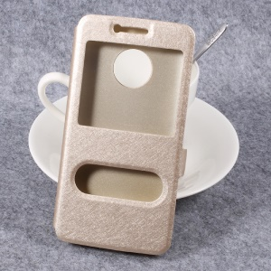 Double Window Silk Texture Leather Stand Phone Case for Motorola Moto G5 - Gold