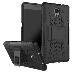 For Lenovo P2 Tyre Pattern 2-in-1 Kickstand PC + TPU Hybrid Case Cover - Black