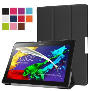 Tri-fold Stand PU Leather Flip Case for Lenovo Tab 3 10 Plus Tablet - Black