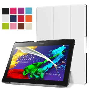 Flip Leather Tri-fold Stand Cover for Lenovo Tab 3 10 Plus Tablet - White