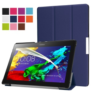 Tri-fold Stand PU Leather Protector Shell for Lenovo Tab 3 10 Plus Tablet - Dark Blue