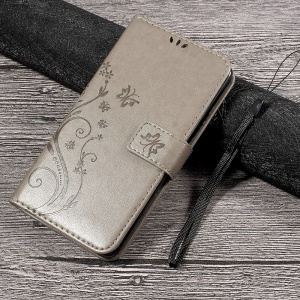 Wallet Leather Case with Imprinted Butterfly Flower for Lenovo P2 - Grey