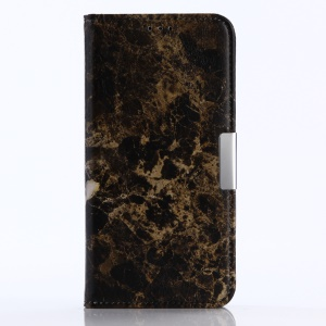 Marble Pattern Wallet Stand Leather Cover for Motorola Moto G5 - Black
