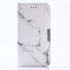 For Motorola Moto G5 Plus Marble Pattern Wallet Stand Leather Case Accessory - White
