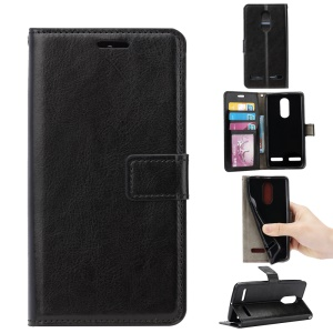 Crazy Horse Leather Wallet Cell Phone Casing with Stand for Lenovo K6 - Black