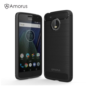 AMORUS Carbon Fibre Brushed TPU Case for Motorola Moto G5 - Black