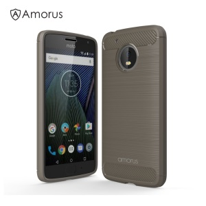 AMORUS Carbon Fibre Brushed TPU Cover Case for Motorola Moto G5 - Grey