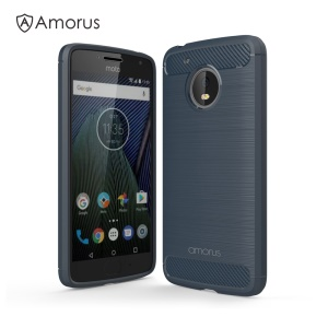 AMORUS Carbon Fibre Brushed TPU Gel Case for Motorola Moto G5 - Navy Blue