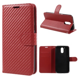 Carbon Fiber Textured Wallet Stand Leather Folio Phone Case for Motorola Moto G4 - Red
