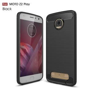 For Motorola Moto Z2 Play Carbon Fiber Texture Brushed TPU Cellphone Cover - Black