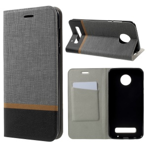 Cross Grain Card Slot Leather Phone Case para Motorola Moto Z2 Play Built-in Steel Sheet - Cinzento