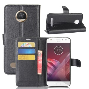 Litchi Skin Wallet Leather Stand Case for Motorola Moto Z2 Play - Black