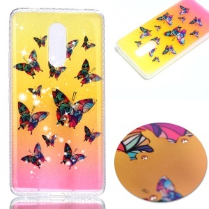 Patterned Inner Rhinestone TPU Case for Lenovo K6 Note - Colorful Butterflies
