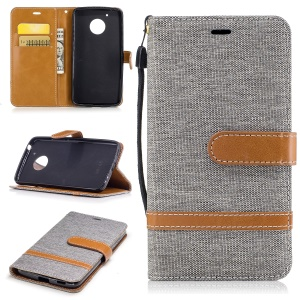 Two-tone Jean Cloth Wallet Leather Cell Phone Cover with Stand for Motorola Moto G5 - Grey
