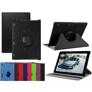 Litchi Texture Rotary Stand Leather Case for Lenovo Tab 3 10 Plus Tablet - Black
