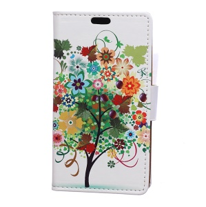 Patterned Wallet Stand Leather Protective Casing for Motorola Moto C Plus - Flowers Tree with Fruits
