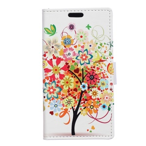 Patterned Wallet Stand Leather Protective Cover for Motorola Moto C Plus - Colorful Flowers Tree