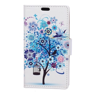 Patterned Wallet Stand Leather Protective Shell for Motorola Moto C Plus - Blue Flowers Tree Birdcage
