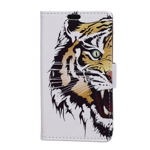 Patterned Wallet Stand Leather Phone Case for Motorola Moto C Plus - Fierce Tiger