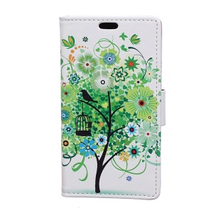 Patterned Wallet Stand Leather Phone Cover for Motorola Moto C Plus - Green Flowers Tree Birdcage