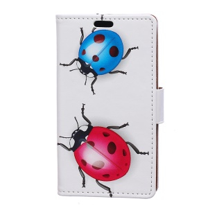 Patterned Wallet Stand Leather Cellphone Protective Cover for Motorola Moto C Plus - Colored Ladybirds