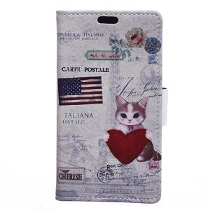 Patterned Wallet Stand Leather Protective Phone Shell for Motorola Moto C Plus - US Flag and Cat Holding Heart