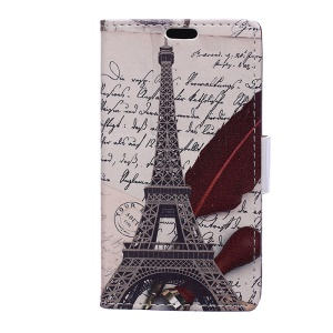 Patterned Wallet Stand Leather Cellphone Case for Motorola Moto C Plus - Eiffel Tower and Quill-pen