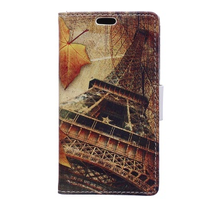 Pattern Printing Wallet Leather Stand Mobile Shell for Motorola Moto E4 - Eiffel Tower and Maple Leaves