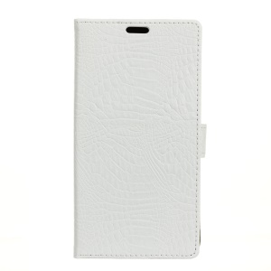 Crocodile Grain Wallet Leather Stand Cover for Motorola Moto Z2 Play - White