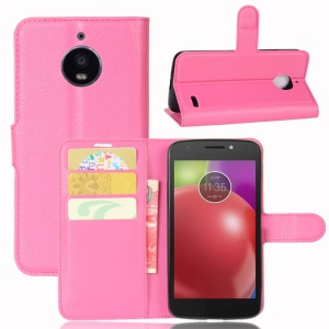 Litchi Skin Leather Stand Magnetic Phone Cover Case for Motorola Moto E4 (EU Version) - Rose