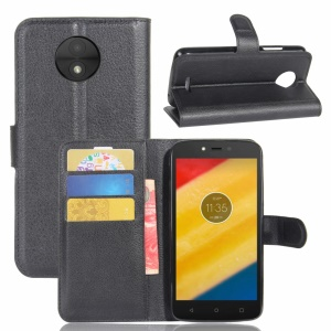 Litchi Skin Wallet Leather Stand Case for Motorola Moto C Plus - Black