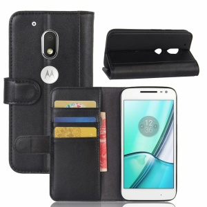 Genuine Leather Wallet Stand  Cell Phone Cover for Motorola Moto G4 Play - Black