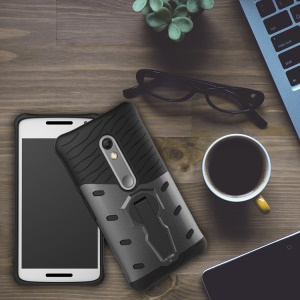 Soft TPU + Plastic Detachable Case with 360-degree Rotary Kickstand for Motorola Moto X Play - Grey