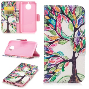 Pattern Printing Wallet Leather Stand Phone Casing for Motorola Moto G6 - Colorized Tree