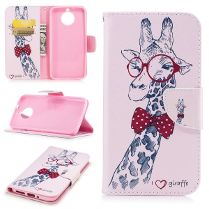 Pattern Printing Wallet Leather Stand Folio Shell Cover for Motorola Moto G6 - Adorable Giraffe Wearing Glasses