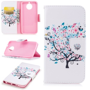 Pattern Printing Wallet Leather Shell Cover with Stand for Motorola Moto G6 - Flowered Tree
