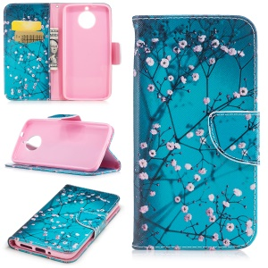 For Motorola Moto G6 Pattern Printing Wallet Leather Stand Folio Cell Phone Case - Tree with Flowers
