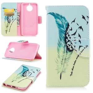 For Motorola Moto G6 Pattern Printing Wallet Leather Stand Cover - Feather Pattern