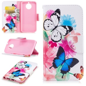 Pattern Printing Wallet Leather Magnetic Case with Stand for Motorola Moto G6 - Butterfly and Flowers
