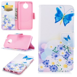 Pattern Printing Wallet Leather Protective Case for Motorola Moto G6 Plus - Blue Butterfly