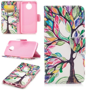Pattern Printing Wallet Leather Cell Phone Case for Motorola Moto G6 Plus - Colorized Tree
